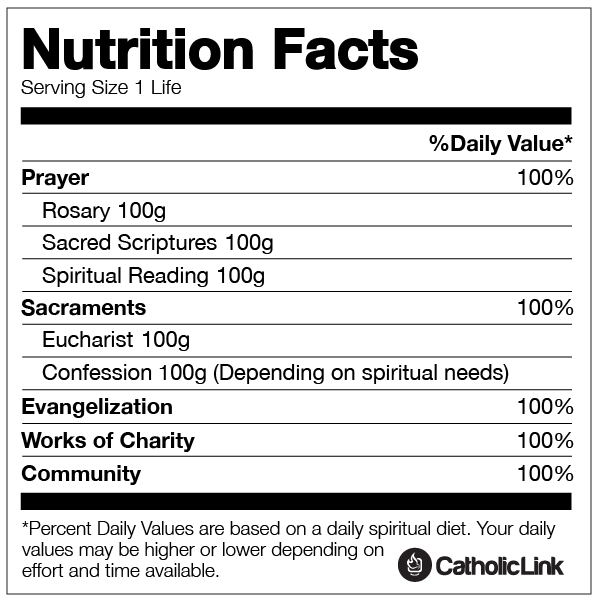 Infographic Spiritual Nutrition Facts For Your Soul Catholic Link Nutrition Facts Quotes Nutrition Facts Spiritual Reading