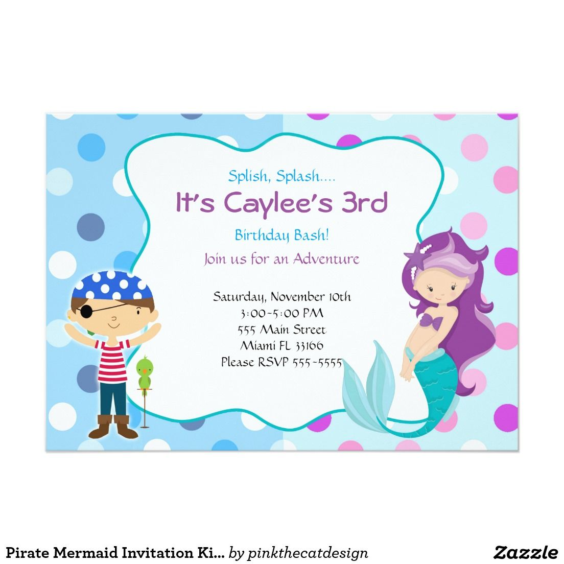 Pirate mermaid invitation kids birthday party butterus birthday