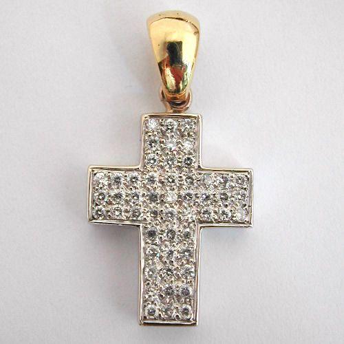 Pendentif croix or gris diamants