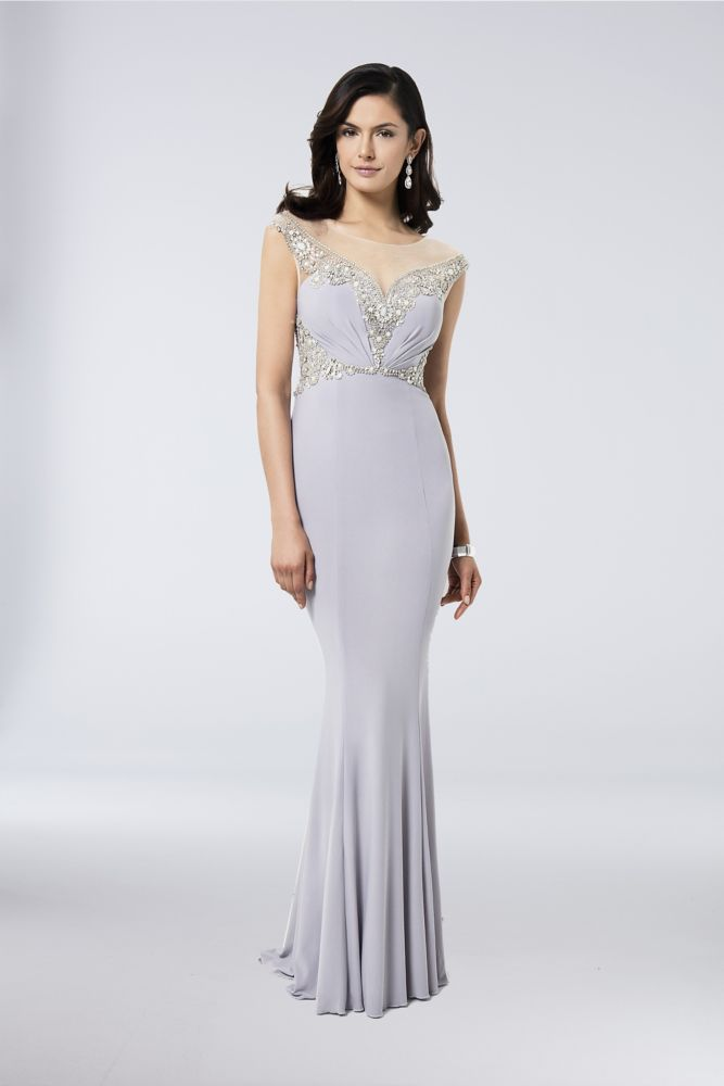 e045f7b38d5 Beaded Jersey Sheath Mother of Bride Groom Gown with Illusion Neckline -  Silver   Nude