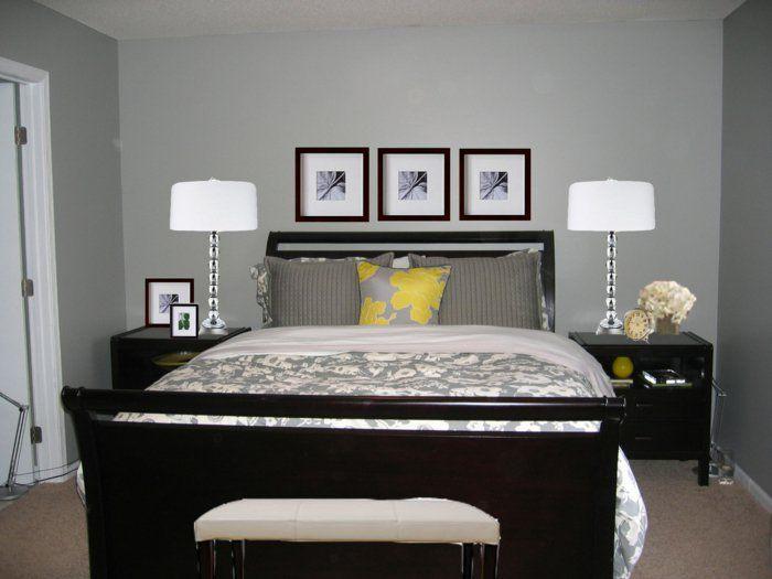 schlafzimmer grau wände teppichboden dunkle möbel schlafzimmerbank ...
