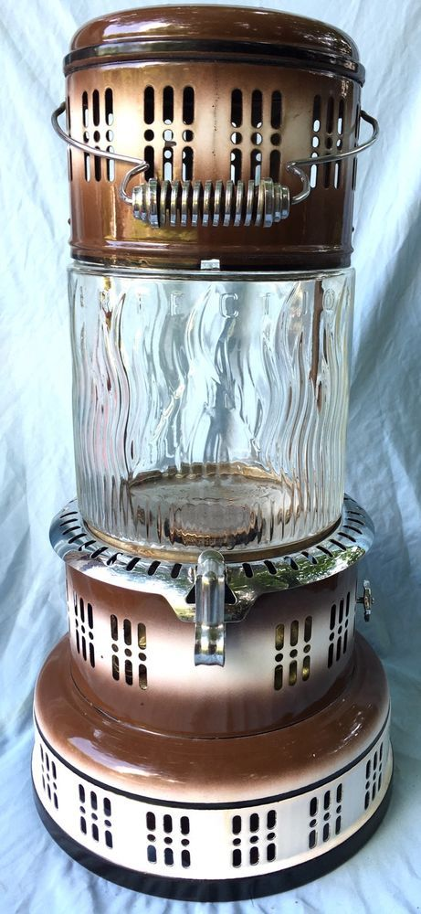 """ANTIQUE-VINTAGE """"PERFECTION"""" OIL HEATER-No.750-BRASS BURNER-PYREX GLASS #Perfection"""