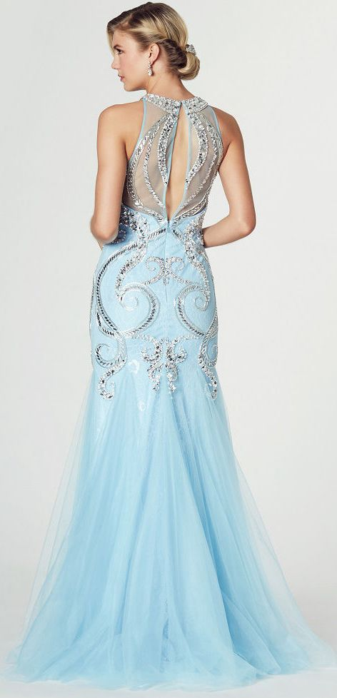 327a68648c9 $163.59-Mermaid Crystal High Neck Sleeveless Tulle Prom Dress/Evening Dress  With Illusion Back