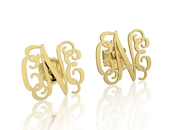 Stud Monogram Earrings 3 letters initials name 14K Gold white or Yellow engraved