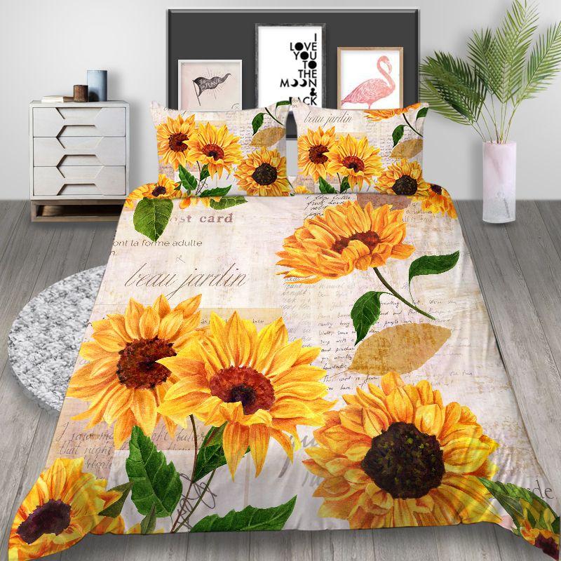 Sunflowers Bedding Set King Artistic Classic High End Duvet Cover