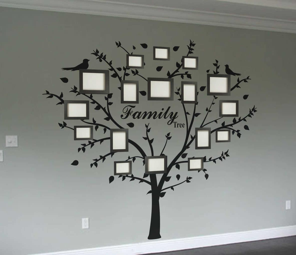 Family photo tree wall decal tree decals gold photo frames and family photo tree wall decal amipublicfo Image collections