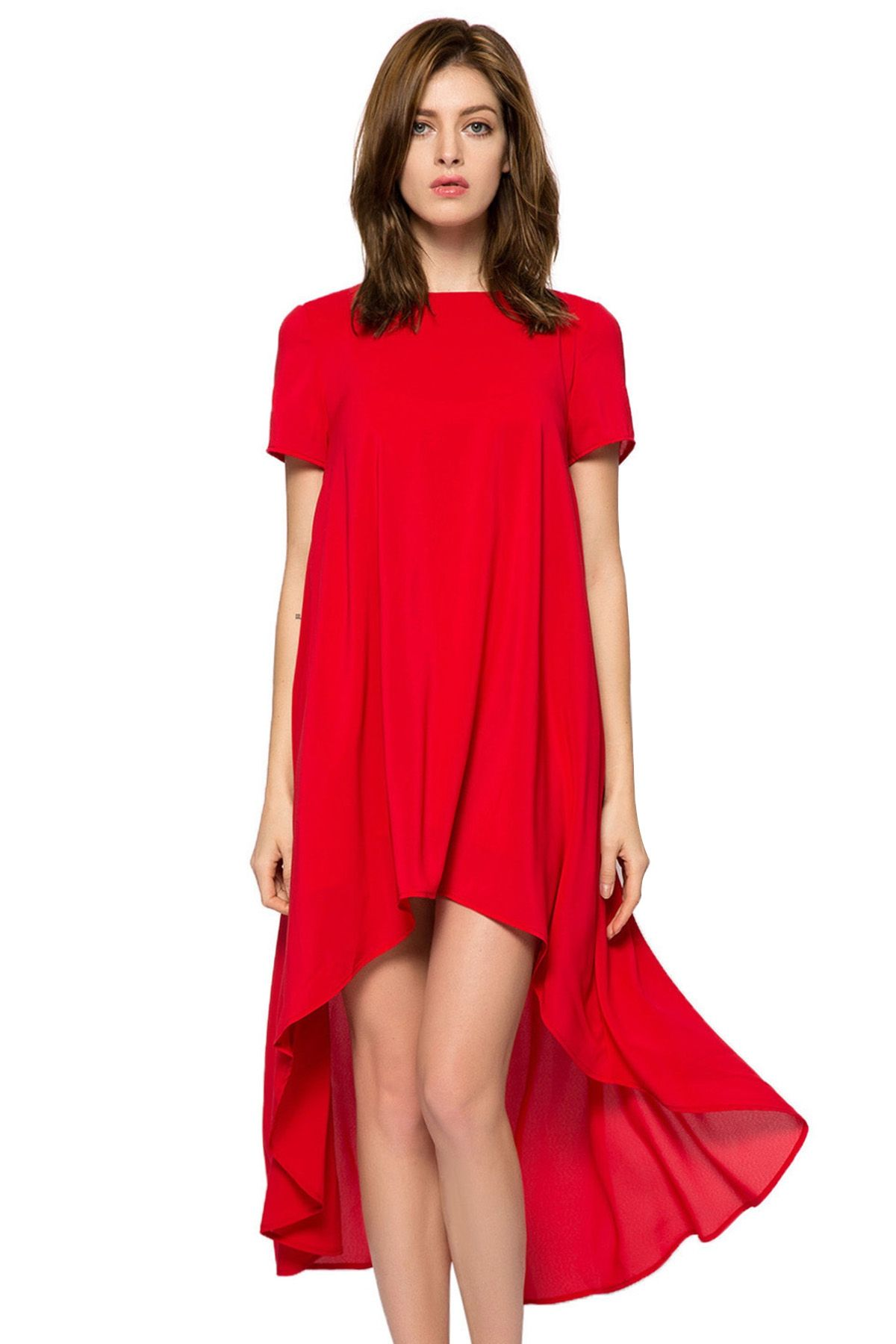 Solid Color Short Sleeve High Low Dress High Low Dress Fashion Wear Fashion Dresses [ 1800 x 1200 Pixel ]