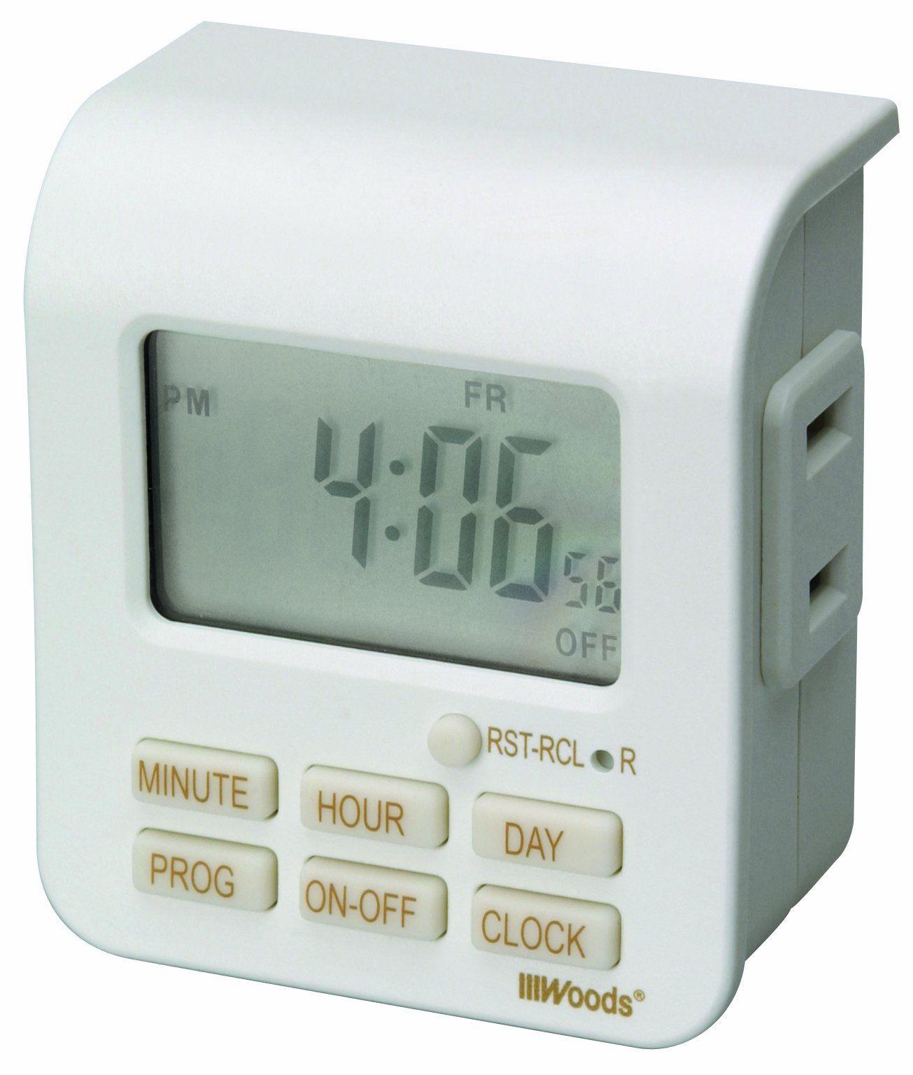 Amazon Com Woods 50008 Indoor 7 Day Digital Outlet Timer Home Improvement Indoor Lamp Digital Timer Outlet Timers