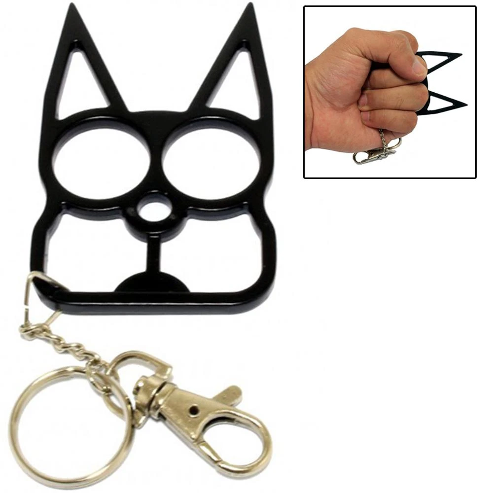 Cat SelfDefense Keychain Knuckle Weapon Black in 2020