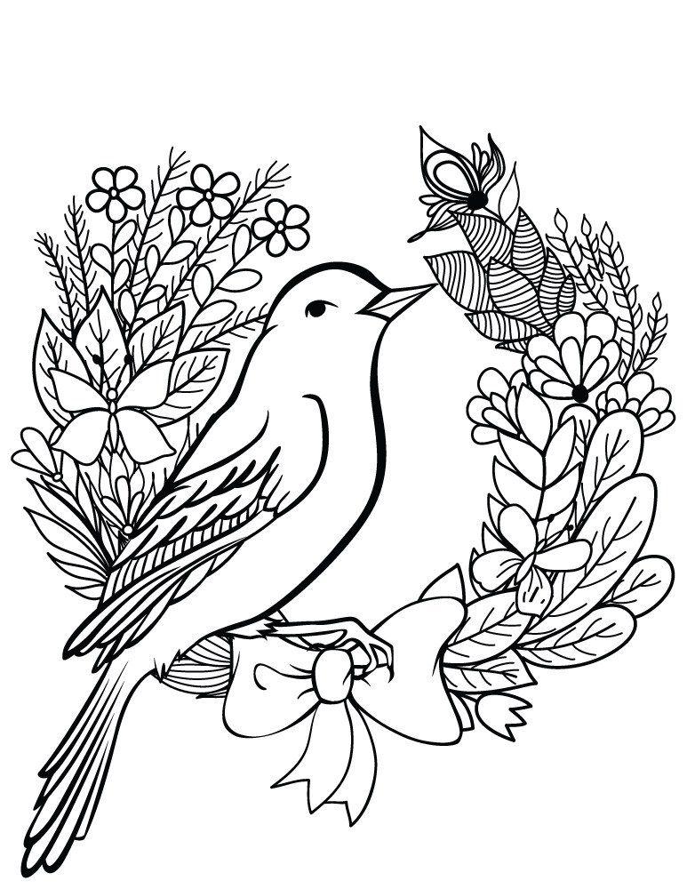 Oiseau Printemps Dessin A Colorier Gratuit Doodle Drawings Art