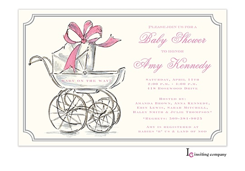 her carriage invitation vintage shabby chic shower pinterest