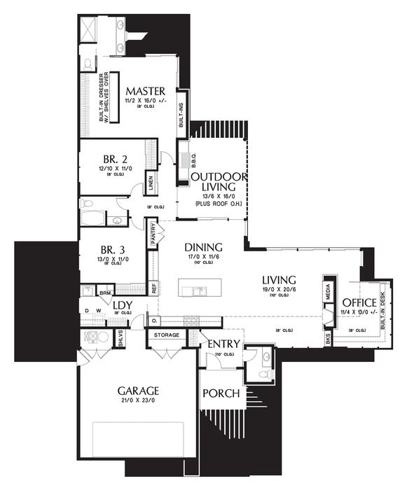 Mascord House Plan 1246 The Houston Contemporary House Plans L Shaped House Plans Modern House Plans
