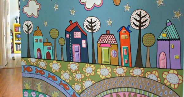painted wall mural using acrylic craft paints:) | mandalas | Pinterest | Painted Wall Murals, Murals and Wall Murals