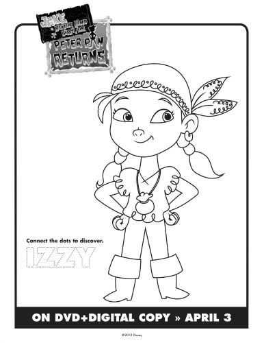 Jake & The Neverland Pirates Printable Izzy Coloring Sheet ...