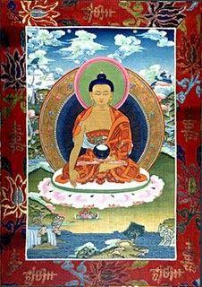 Tibetan thanka, meditating Buddha