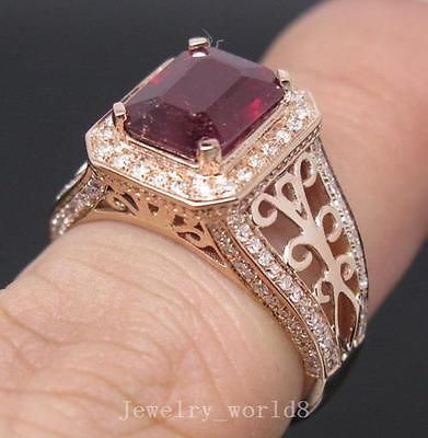 Solid 14k Rose Gold 4 23ct Genuine Natural vs Diamond Blood Ruby Wedding Ring | eBay