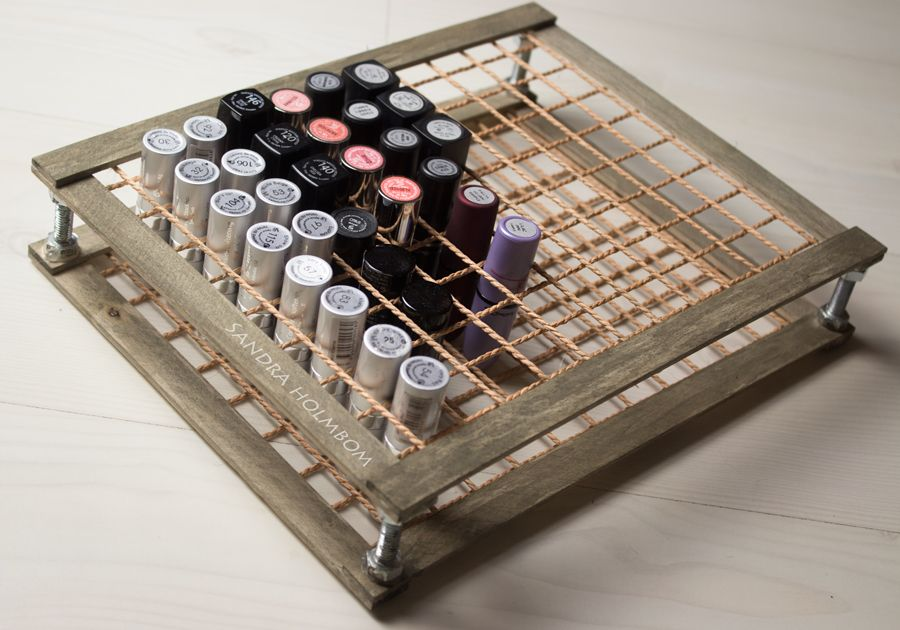 Tutorial  DIY Lipstick holder (wood & rope/string?) In English at