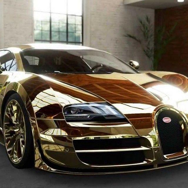 Gold Bugatti Veyron Super Sport: #bugatti #veyron #gold #bling
