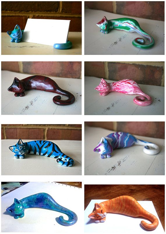 Clay cat business card holder customized business card holders customized clay cat business card holder by lilijane on etsy colourmoves