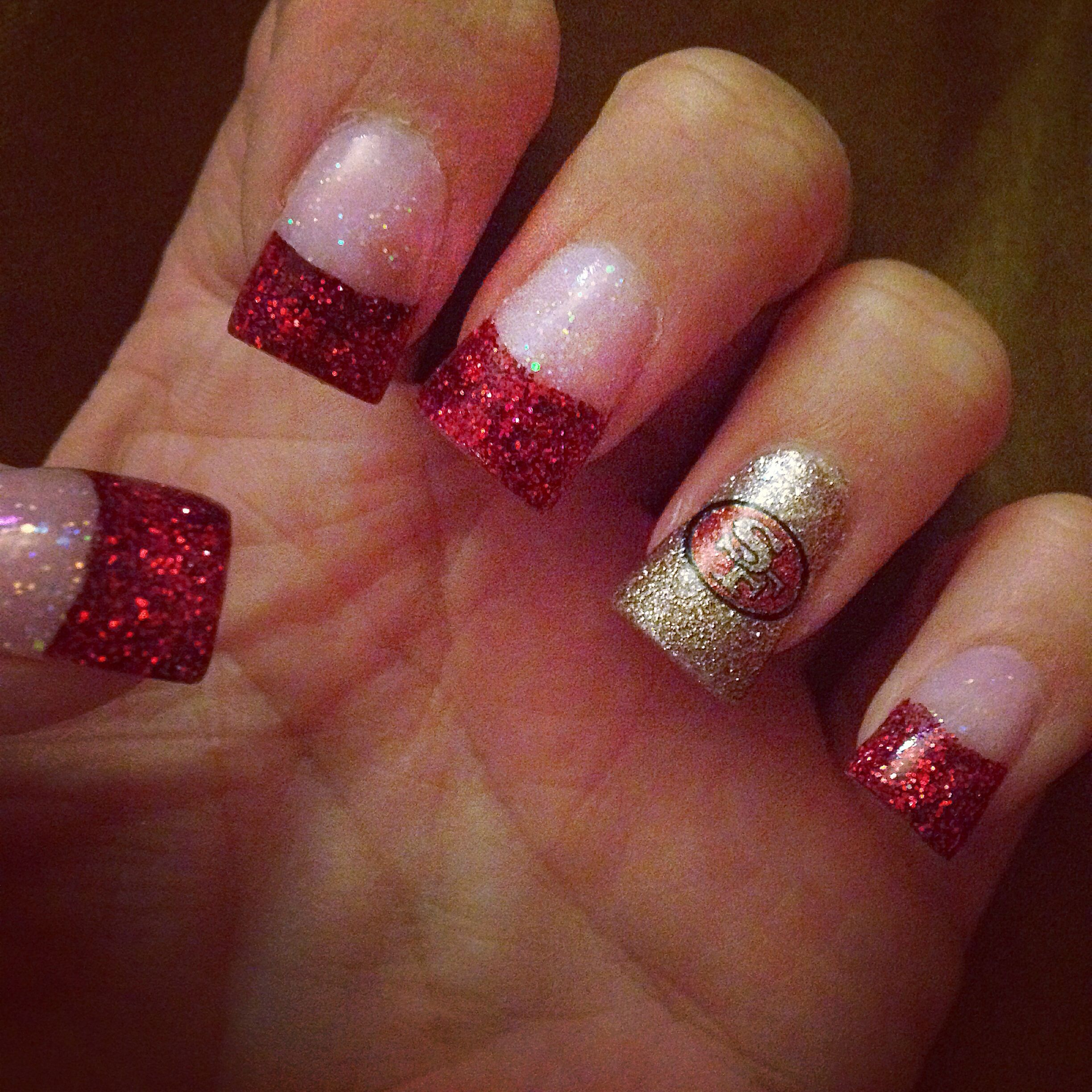 49ers nails | Nails | Pinterest | 49ers nails, Glittery nails and ...