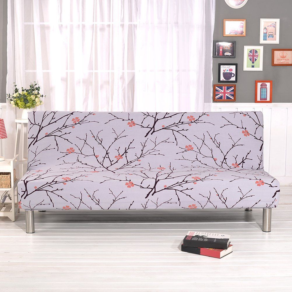 Floral Prints Armless Sofa Cover Polyester Spandex Fabric