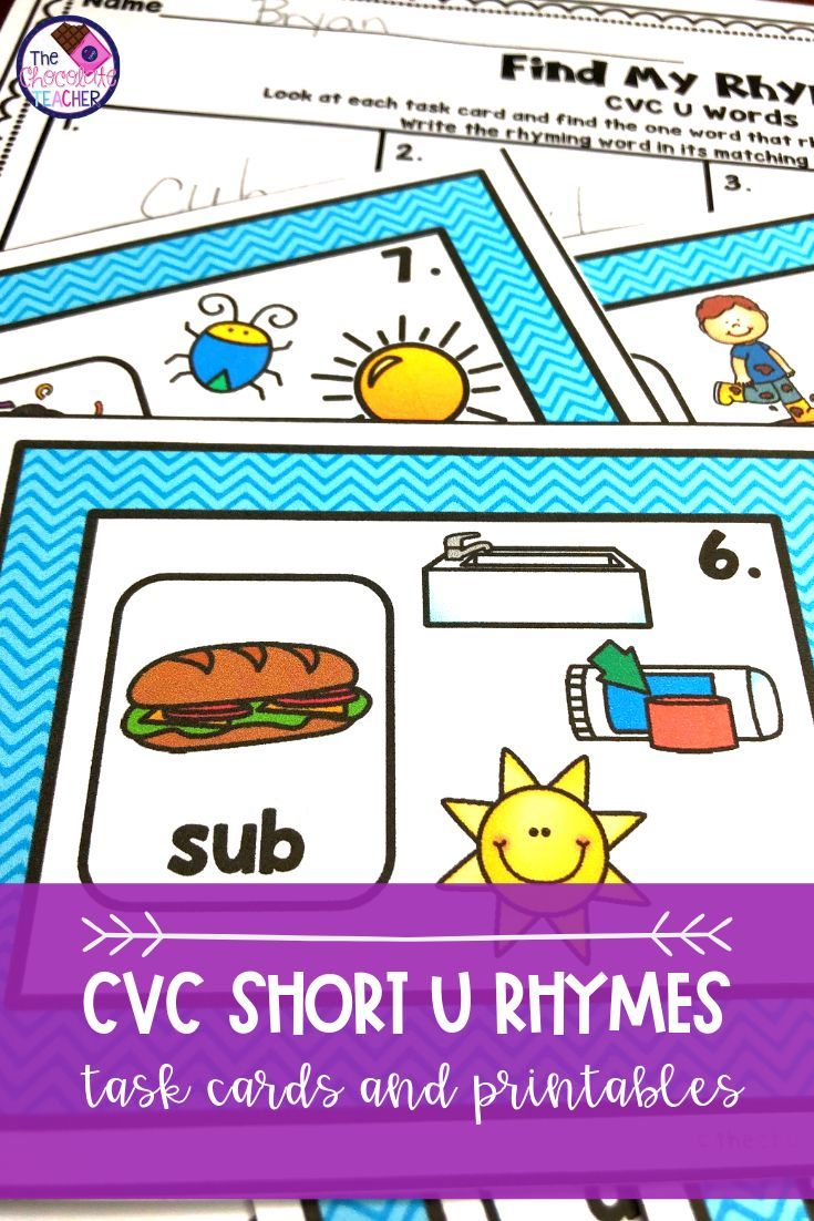 Rhyming Activity Task Cards and Worksheets CVC U