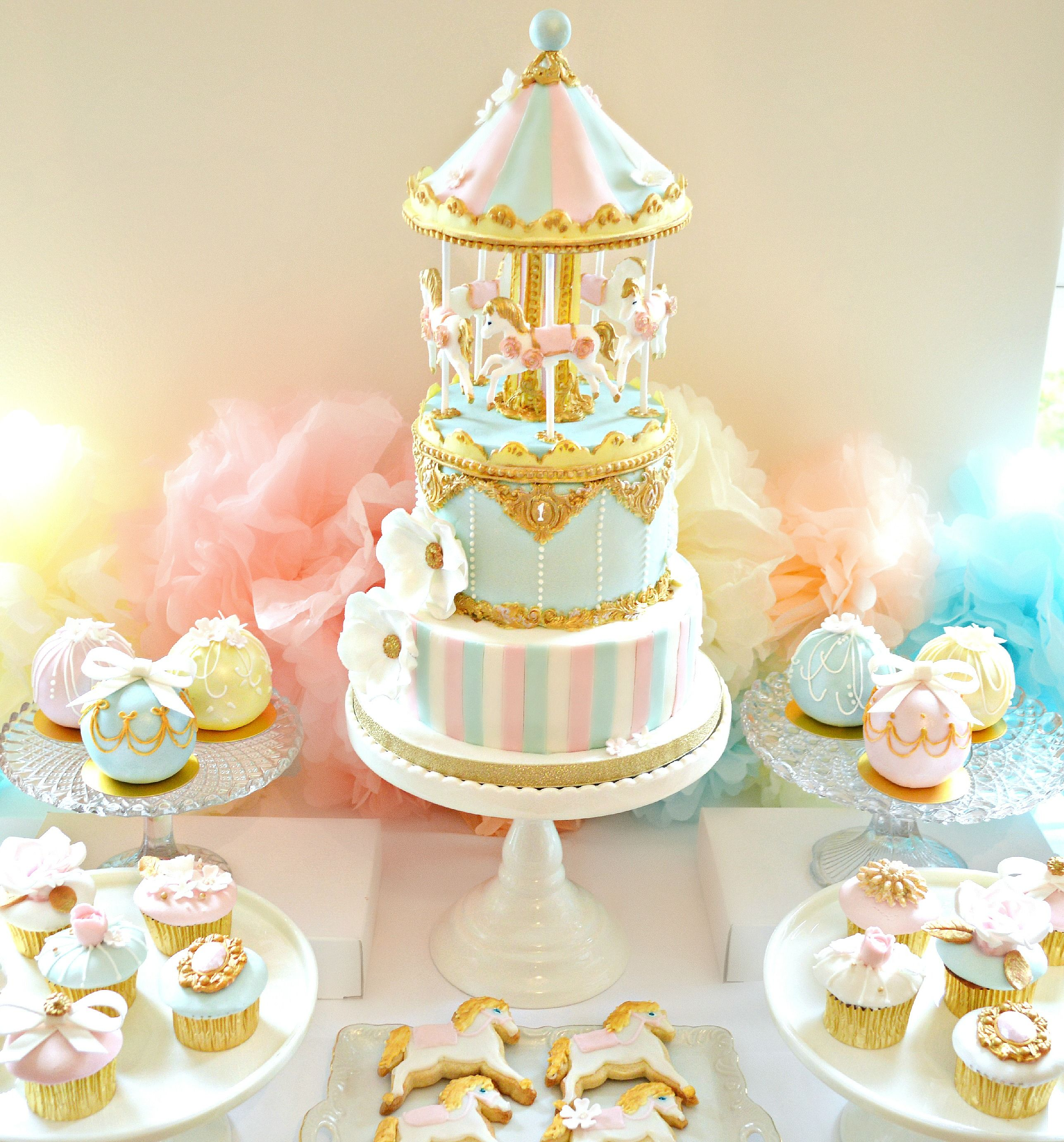 Pink, Blue And Gold Carousel Birthday Cake, Cupcakes And