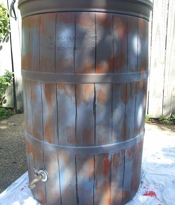 Cute Rain Barrel From A Simple Blue Plastic One Rain Barrel Barrel Old Milk Cans