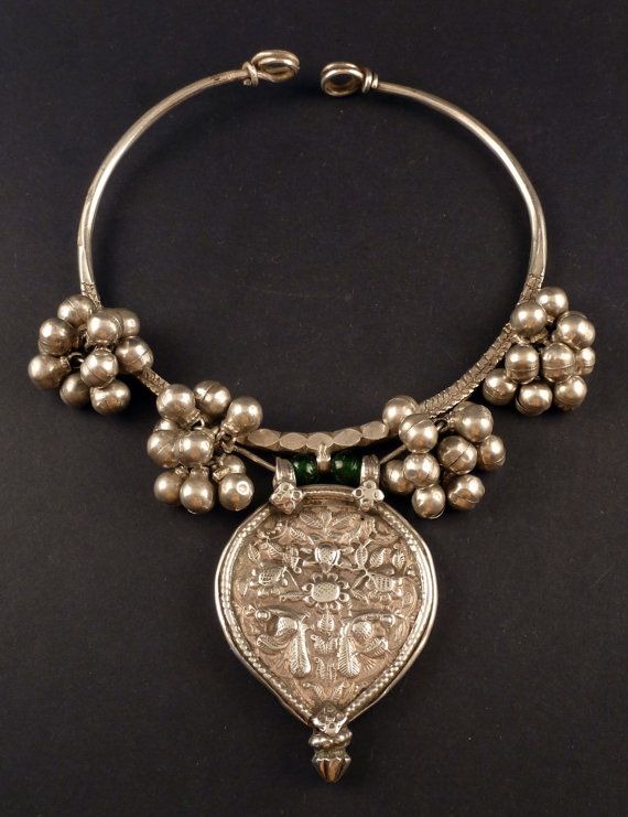 Old children neck ring from Rajasthan, Indian silver ...