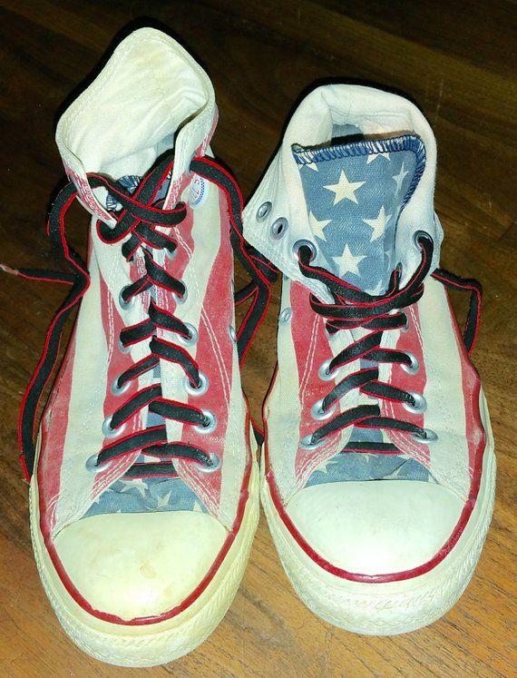 American Flag Vintage Converse Chuck Taylor High Top Tennis