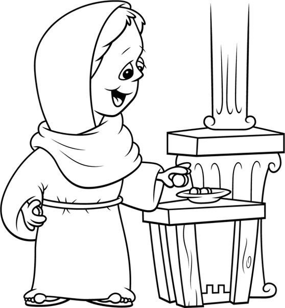 The Widow S Offering Coloring Page Widows Mite Coloring Pages