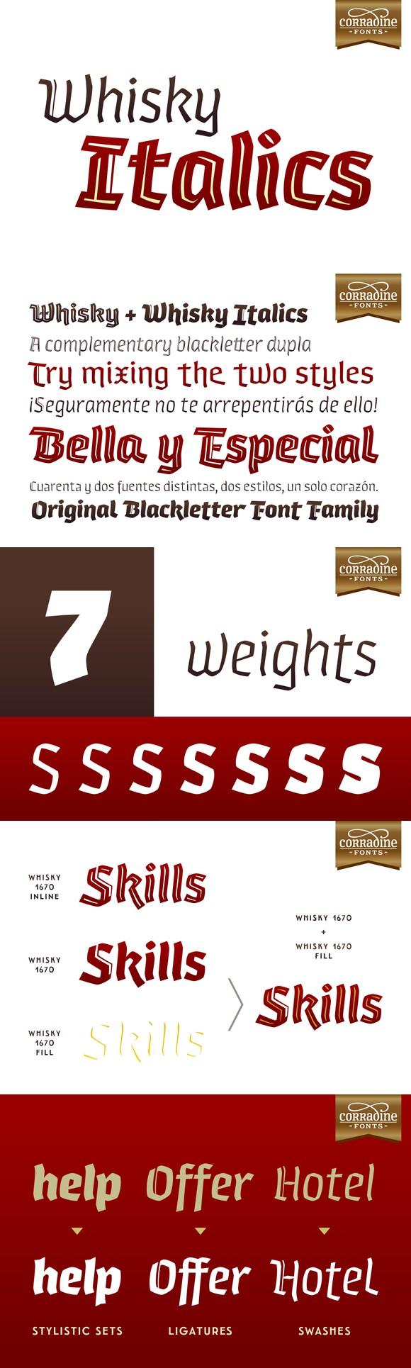 Whisky Italics. Blackletter Fonts. $85.00