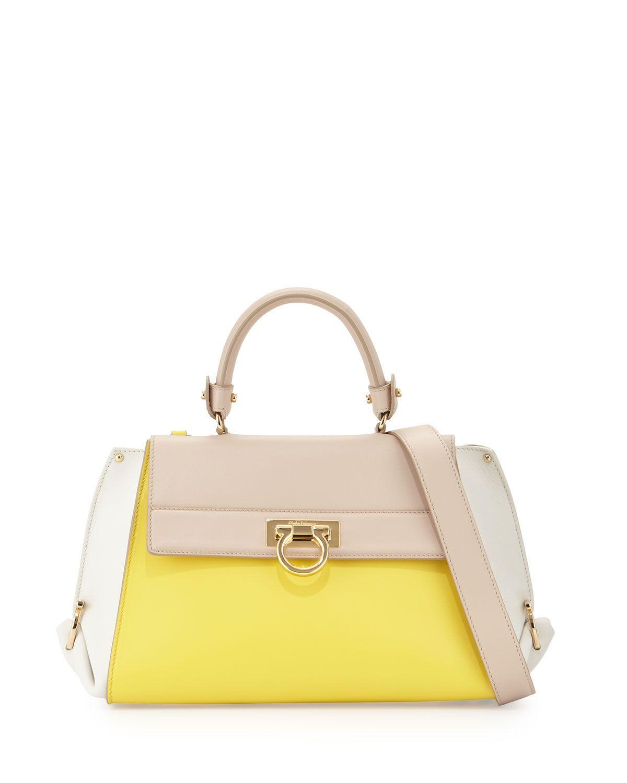 Sofia G Colorblock Leather Satchel Bag, Mimosa/Lait, Women's ...