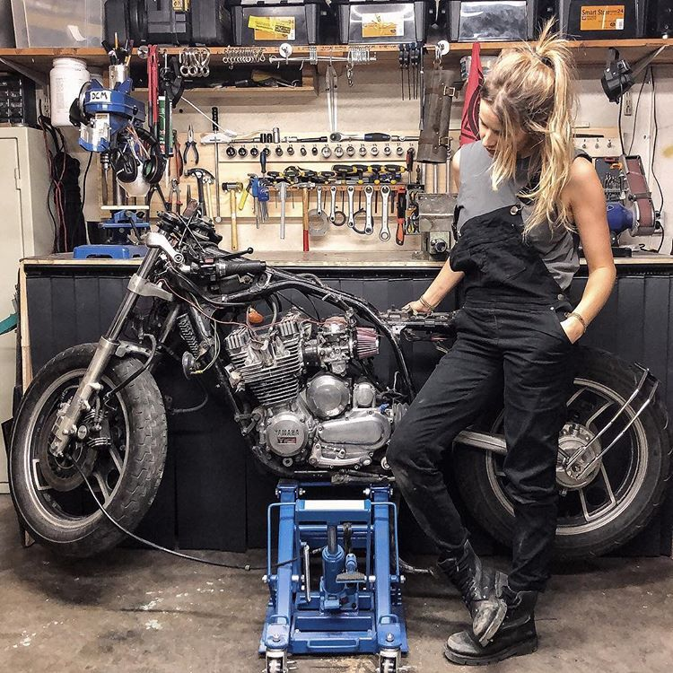 Wrench time with Ida Olsson in her custom motorcycle garage in all its glory.