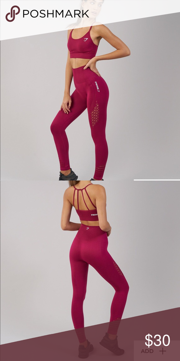 d068c73a55d635 GYMSHARK Seamless Energy High Waisted Leggings Beet color seamless energy  high waisted leggings. Full length, not cropped! Great condition, they just  don't ...