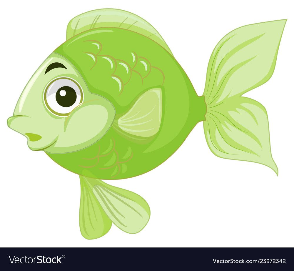 Green Goldfish White Background Illustration Download A Free Preview Or High Quality Adobe Illustrator Cartoon Clip Art Drawing For Kids Cute Cartoon Animals