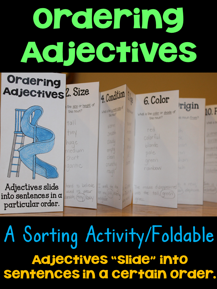 ordering adjectives sorting activity reference guide 4th grade common core order of. Black Bedroom Furniture Sets. Home Design Ideas