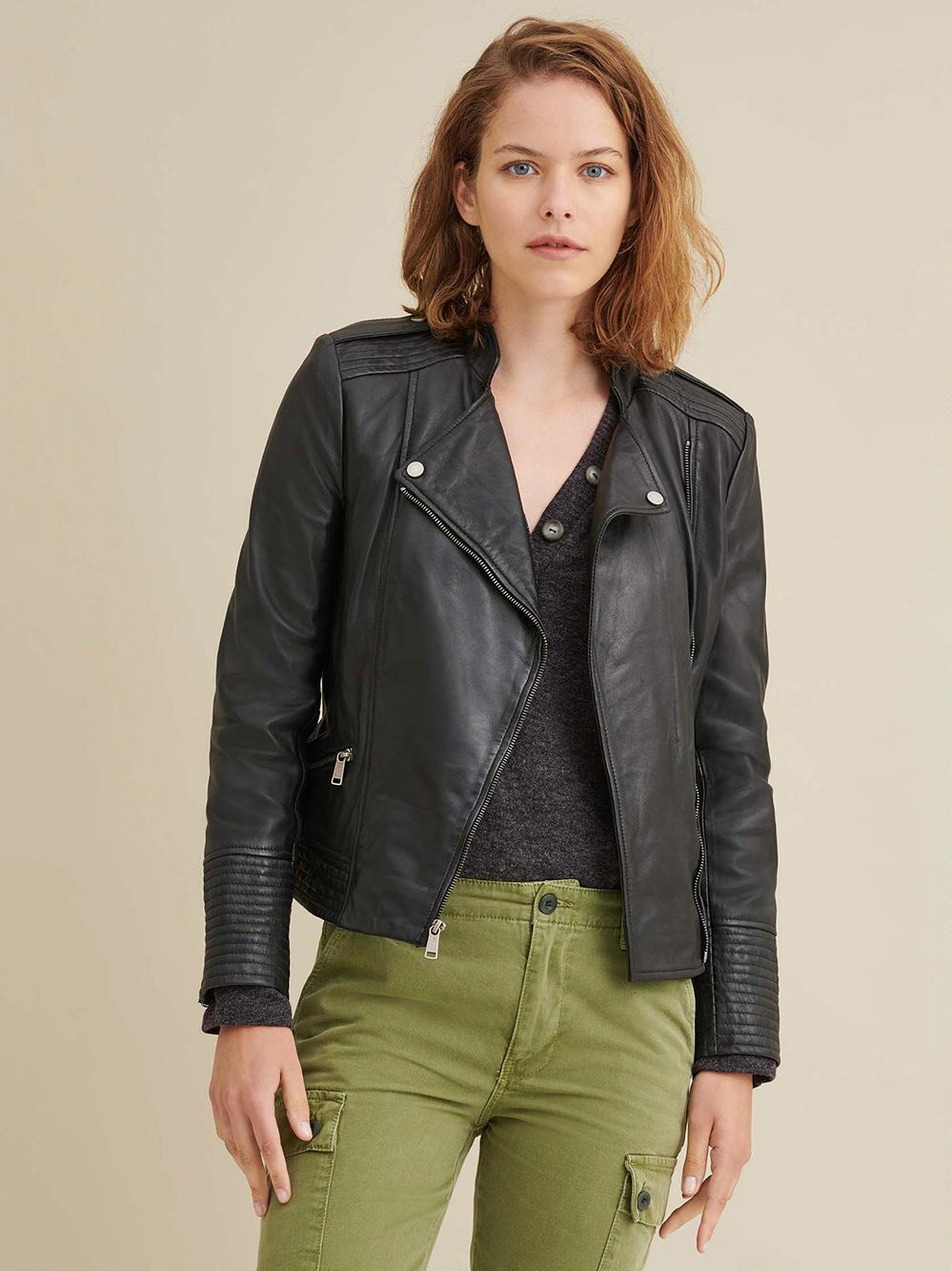 Monica Asymmetrical Leather Jacket Asymmetrical leather