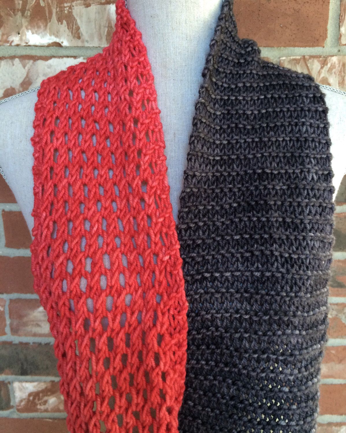 Hand knit color block infinity scarf coral pink charcoal grey hand knit color block infinity scarf coral pink charcoal grey ready to ship mothers bankloansurffo Choice Image