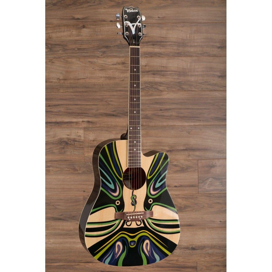 Vonax Acoustic Guitar Steel Strings Model Md 15 Black Psychedelic