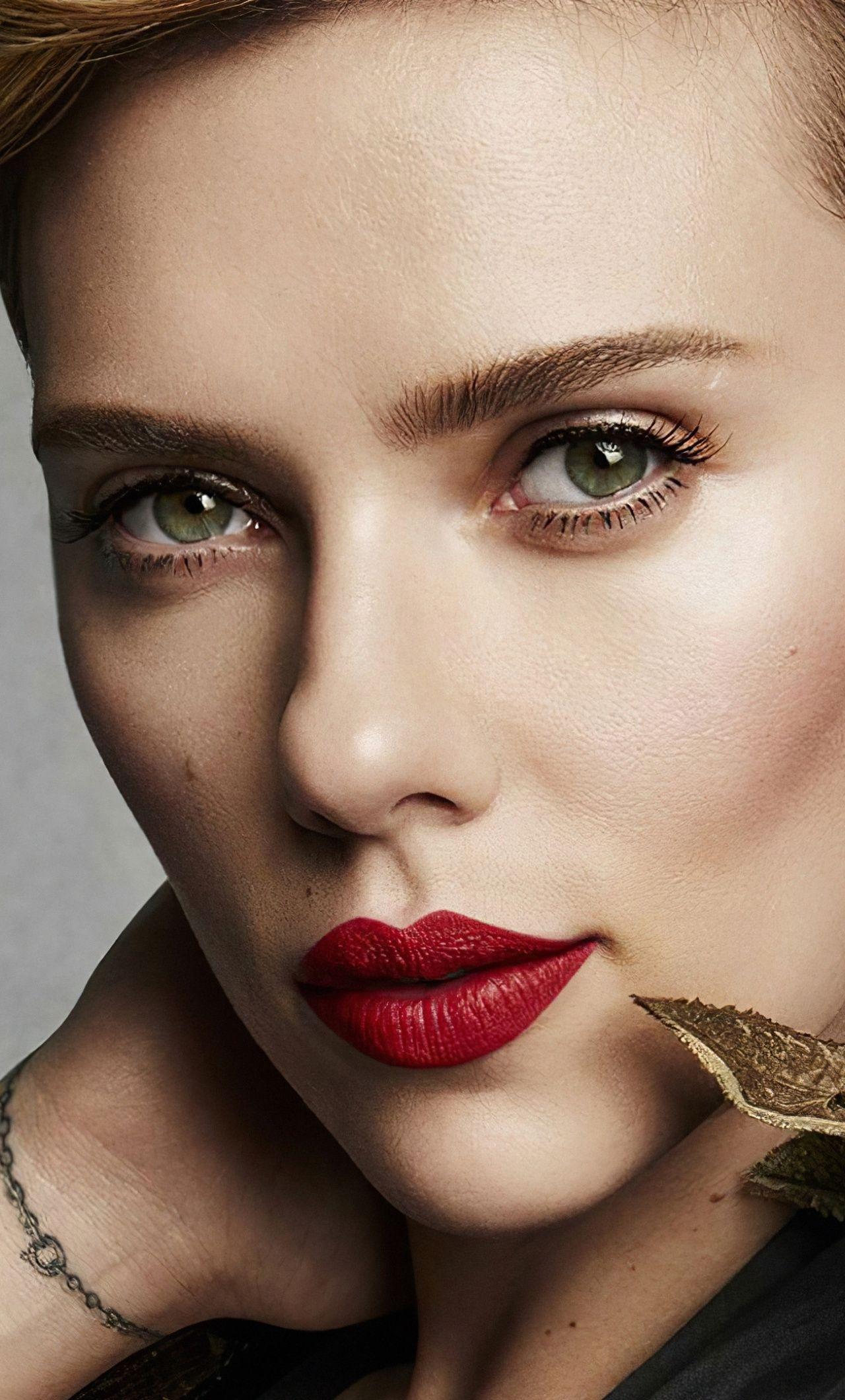 1280x2120 Close up, red lips, Scarlett Johansson wallpaper