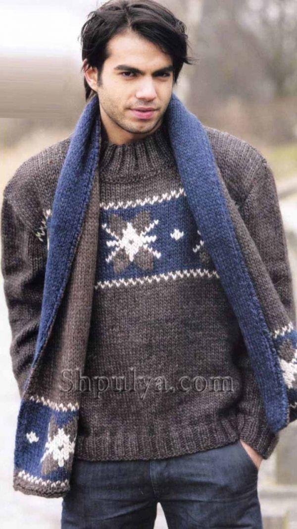 Джемпер и шарф с жаккардовым узором