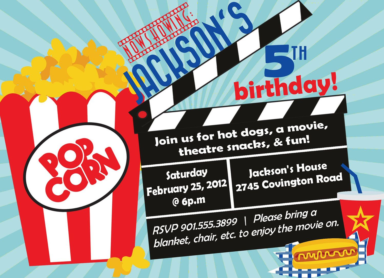 Movie Party Invitations Free Templates | Invitations Card by ...