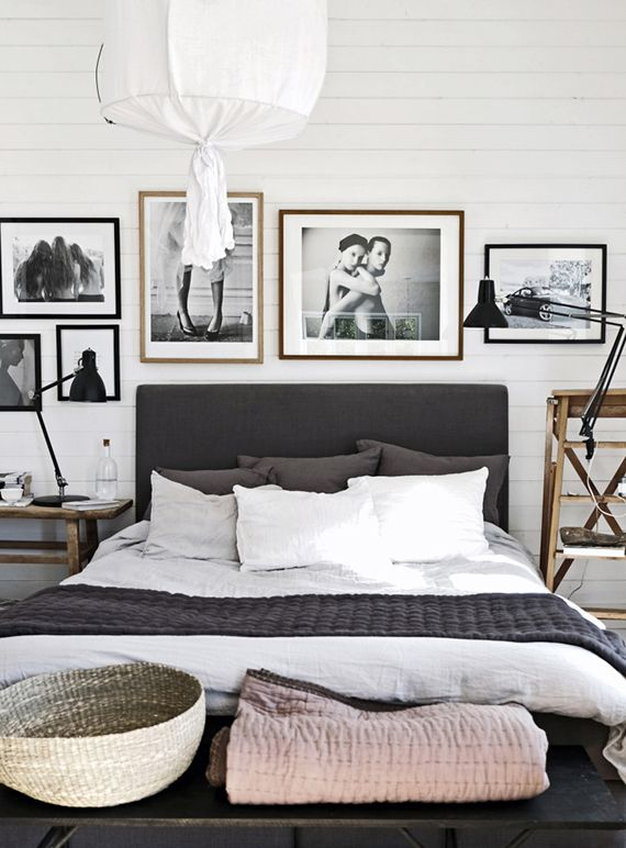 Scandinavian bedroom with gorgeous art by pella hedeby Industrial scandinavian bedroom