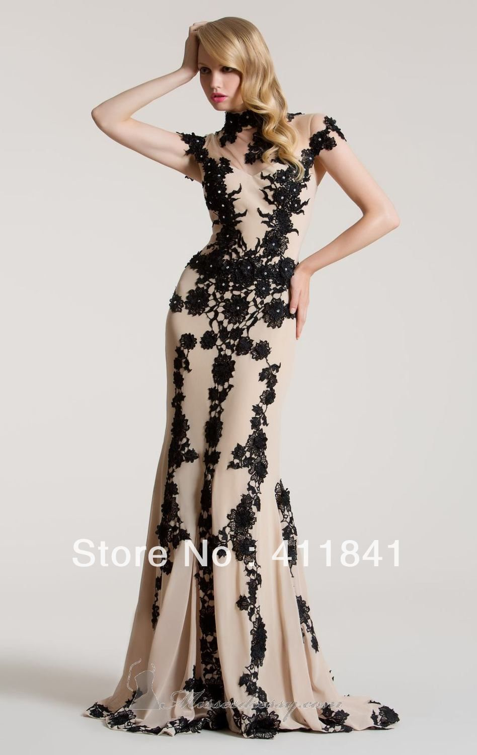 new fashion stle high neck lace appliques with beads black lace