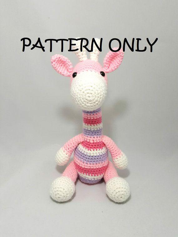 Striped Giraffe Crochet Amigurumi PATTERN by HappyHookDesigns ...