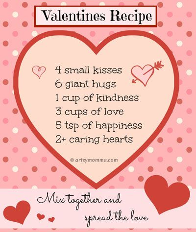 sweet recipe for valentine's day poem {free printable | valentines, Ideas