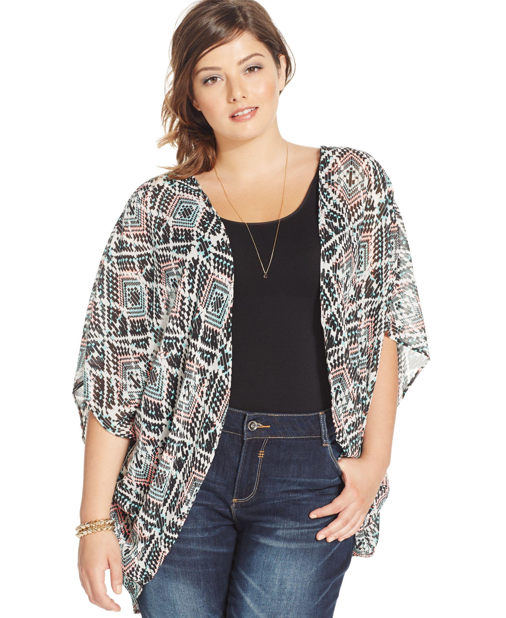 Eyeshadow Plus Size Geo-Print Kimono Cardigan | Products ...