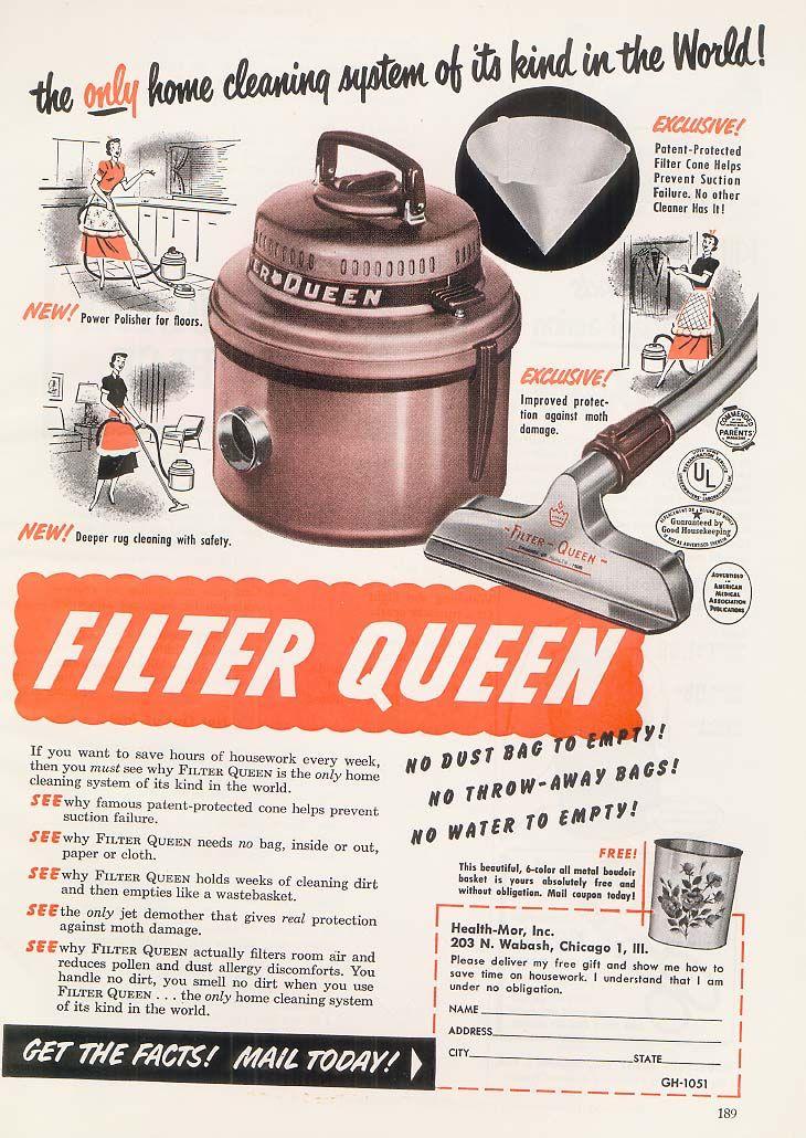 1950s FilterQueen Ad Improve indoor air quality, Clean