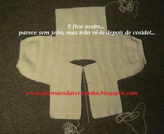 Das Mãos da Teresinha  Casaco de tricô para bebé 0-3 meses 421db40a37a